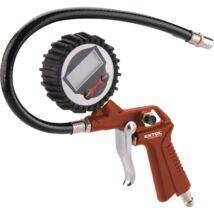 """Gumiabroncs fuvató pisztoly, digitális manométerrel, max. 8 Bar, 1/4"""" tömlőcsatlakozó, 100-185 l/perc, 2×1,5V elemmel; Extol Premium, 8865065"""