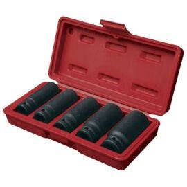 """Dugófej - Gépi (impakt) dugófej készlet 1/2"""", 5db, 17-19-21-24-27mm×79mm ; feketített, műanyag tartóban, FORTUM, 4700802"""