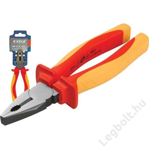 Kombinált fogó 160mm, szigetelt,1000V VDE, DIN ISO 5746, CV, duál piros/sárga nyél, Extol Premium, 8813170