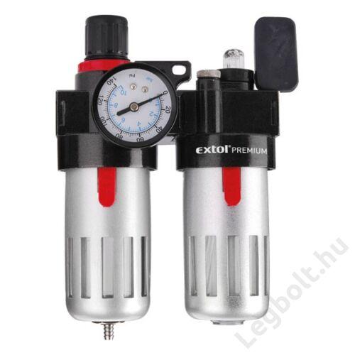 """Levegőelőkészítő (légszűrő nyomásszabályozóval, olajozóval ésmanométerrel),max.8Bar,1/4"""",max.60°C,90ml szűrő&90mlolajzó; Extol Premium, 8865105"""