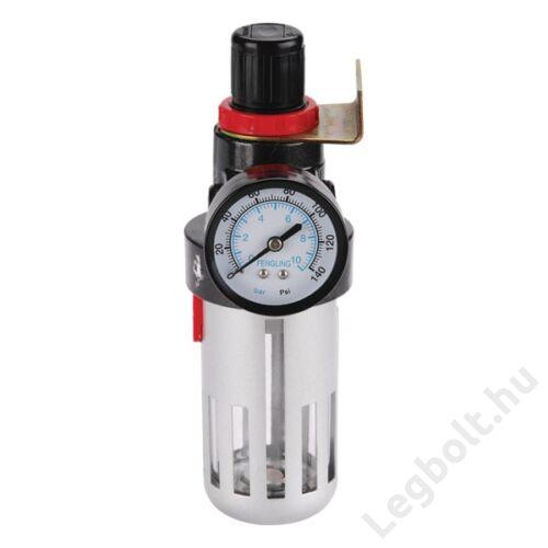 """Levegőszűrő nyomásszabályozóval és manométerrel, max. 8 Bar, 1/4"""", max. 60°C, 90ml; Extol Premium, 8865104"""