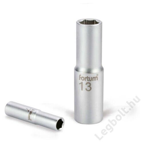 "Dugófej - Hosszított 1/2"", 13mm, 61CrV5, mattkróm,  77mm hosszú, FORTUM, 4700513"