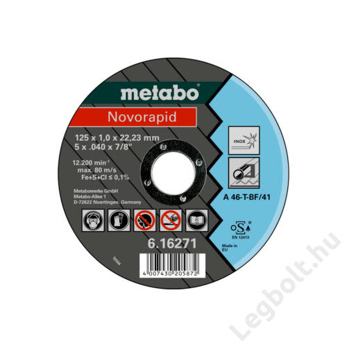 METABO - Novorapid 125x1,0x22,2mm Inox Vágótárcsa - 616271000