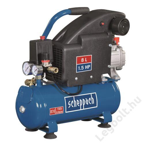Scheppach HC08  olajkenéses kompresszor - 1,1 kW, direkthajtás, 8 literes tartály, 1 fázis