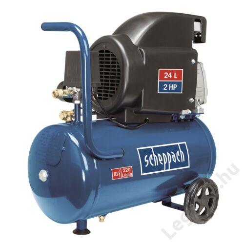 Scheppach HC26  olajkenéses kompresszor - 1,5 kW, direkthajtás, 24 literes tartály, 1 fázis