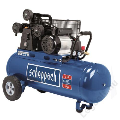 Scheppach HC 550 TC  olajkenéses kompresszor - 2,2 kW, ékszíjhajtás, 10 bar, 100 literes tartály, 1 fázis