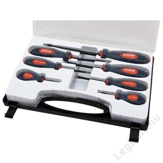 Csavarhúzó készlet  7 részes, mágneses; lapos: 5, 6, 8mm, PH:1,2, marok: PH2, 6mm lapos, műanyag dobozban; Extol Premium, 8819200